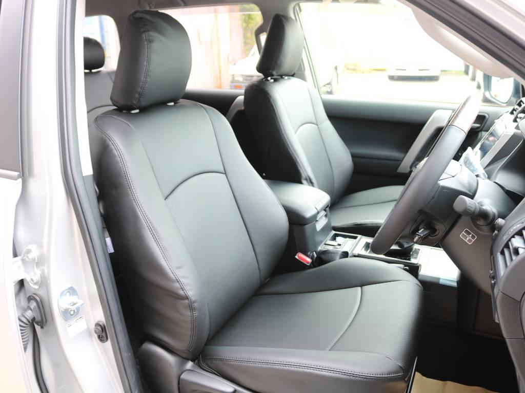 ブラックシートカバー装着☆ | トヨタ ランドクルーザープラド 2.8 TX ディーゼルターボ 4WD 7人 試乗車 2インチUP
