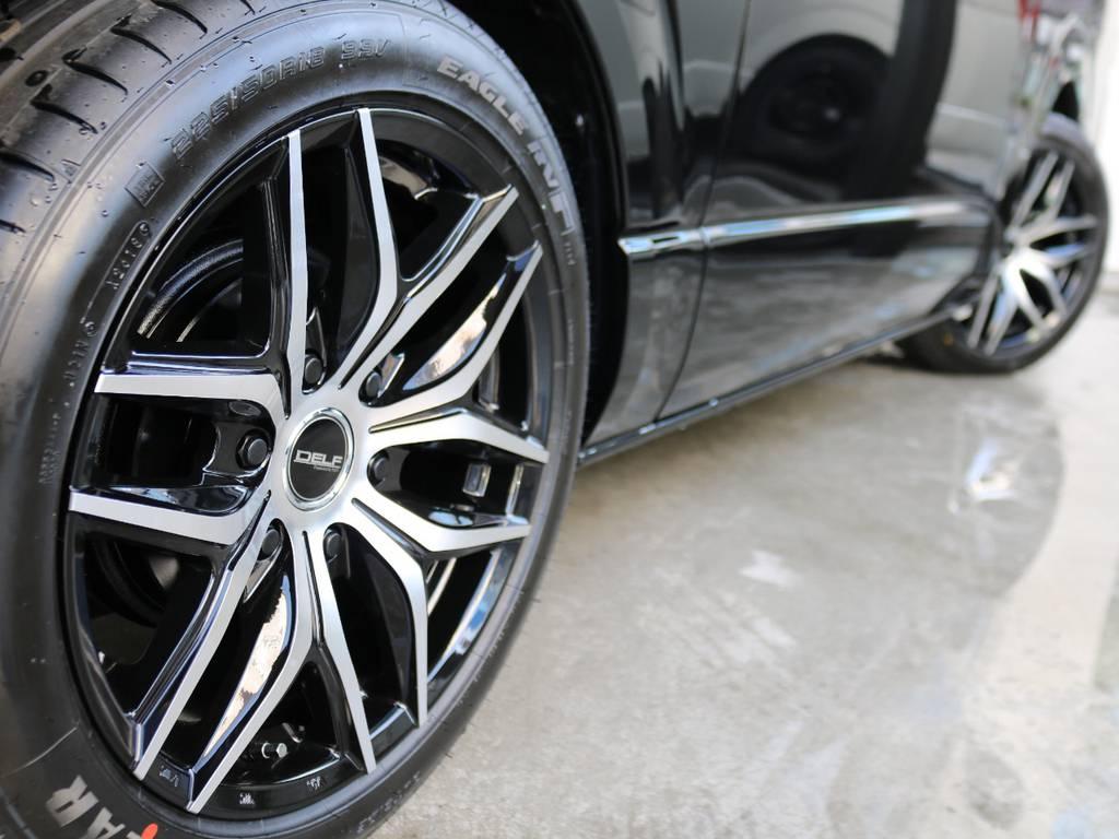 オリイジナルデルフ01 18インチアルミホイール装着!! | トヨタ ハイエースバン 2.8 スーパーGL ダークプライムⅡ ロングボディ ディーゼルターボ 床張りナビパッケージ