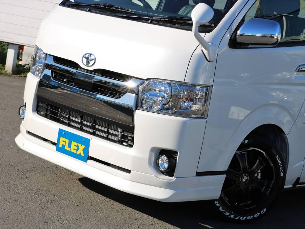 迫力のあるFLEXオリジナルDelfino Lineフロントスポイラー♪ | トヨタ ハイエースバン 2.8 スーパーGL ダークプライムⅡ ロングボディ ディーゼルターボ 4WD 床張りライトカスタムパッケージ