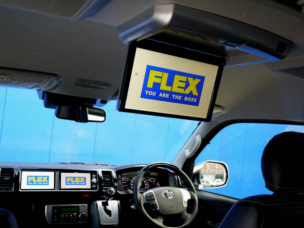 後席にはカロッツェリア フリップダウンモニター完備!! | トヨタ ハイエース 2.7 GL ロング ミドルルーフ R1トリプルナビパッケージ