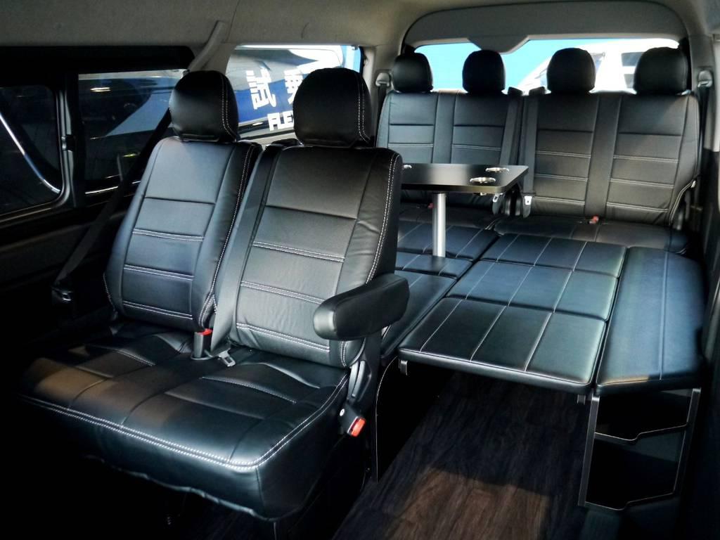 全席シートカバー装着!!ベットキットは大人の方もゆったり寝れますよ☆ | トヨタ ハイエース 2.7 GL ロング ミドルルーフ R1トリプルナビパッケージ
