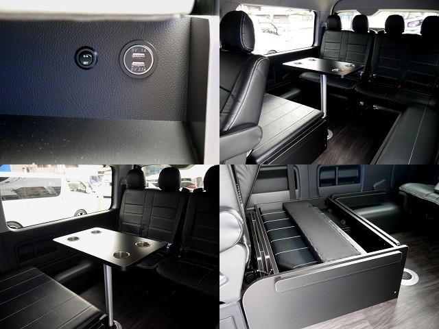 専用テーブル完備!!ベットマットや専用テーブルは取り外しできますよ☆ | トヨタ ハイエース 2.7 GL ロング ミドルルーフ R1トリプルナビパッケージ