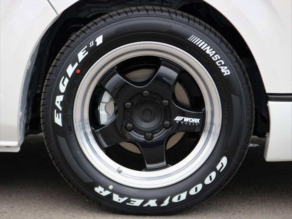 WORK X-TRAP17インチアルミホイールにグッドイヤーナスカーホワイトレタータイヤ! | トヨタ ハイエースバン 2.8 スーパーGL ダークプライムⅡ ロングボディ ディーゼルターボ BAD FACEカスタム