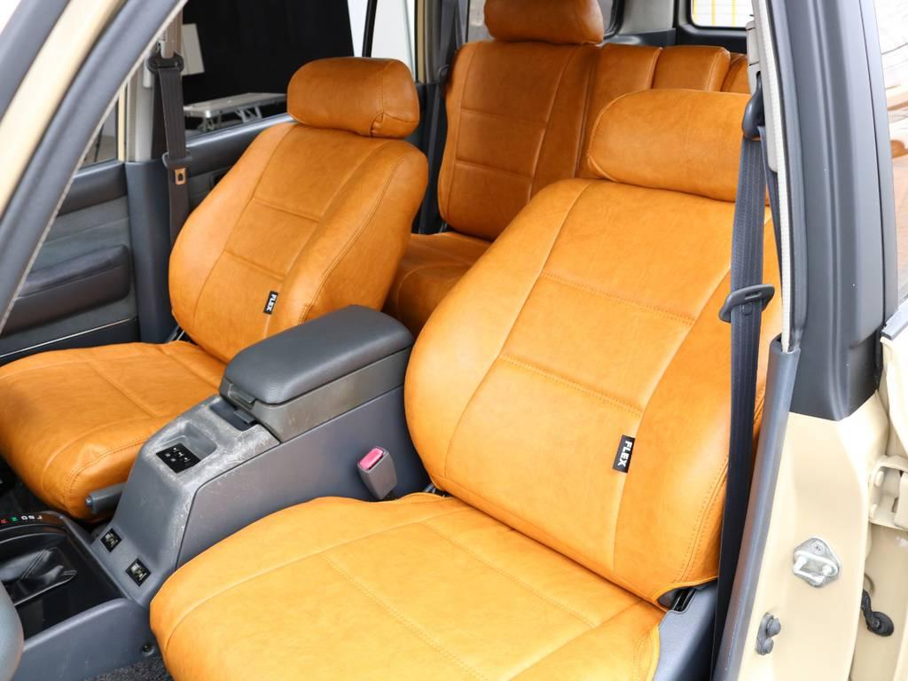 おしゃれなキャメルシートカバーで人気です! | トヨタ ランドクルーザー80 4.5 VXリミテッド 4WD 丸目 60フェイス
