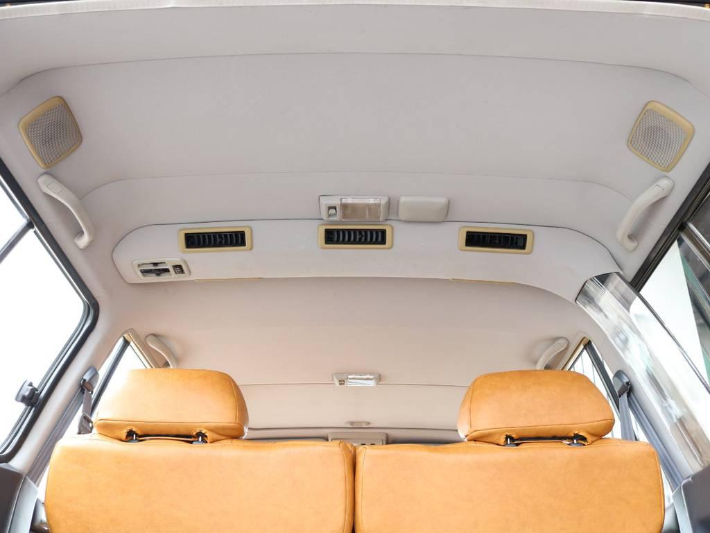広々した天井!大きなキズやへたりも無く天張りもグッドコンディション! | トヨタ ランドクルーザー80 4.5 VXリミテッド 4WD 丸目 60フェイス
