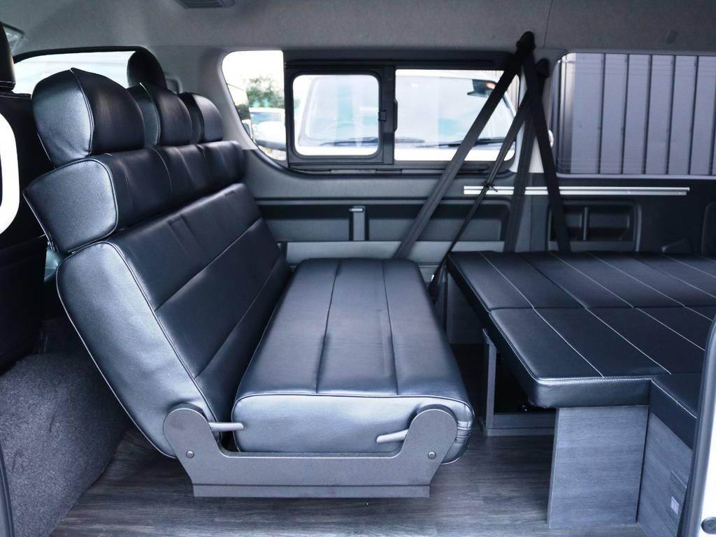 セカンドシート 後ろ向き展開時の状態♪ | トヨタ ハイエース 2.7 GL ロング ミドルルーフ 内装アレンジVer2