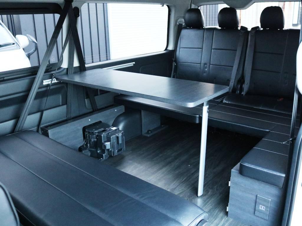 脱着可能な折りたたみ式テーブル付き! | トヨタ ハイエース 2.7 GL ロング ミドルルーフ 内装アレンジVer2