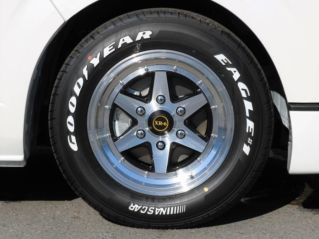 ファブレス XR-6 16インチアルミホイールにグッドイヤーナスカーホワイトレタータイヤ! | トヨタ ハイエース 2.7 GL ロング ミドルルーフ アレンジR1 トリプルモニター
