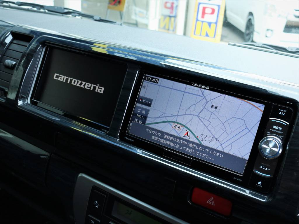 カロッツェリア製SDナビ、フルセグTV、DVD再生可能!カロッツェリア製サイドモニター!   トヨタ ハイエース 2.7 GL ロング ミドルルーフ 4WD アレンジR1