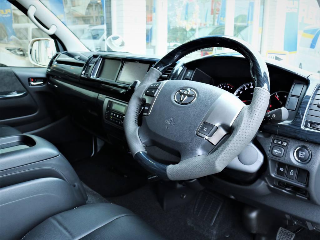 黒木目ステアリング、シフトノブ!   トヨタ ハイエース 2.7 GL ロング ミドルルーフ 4WD アレンジR1