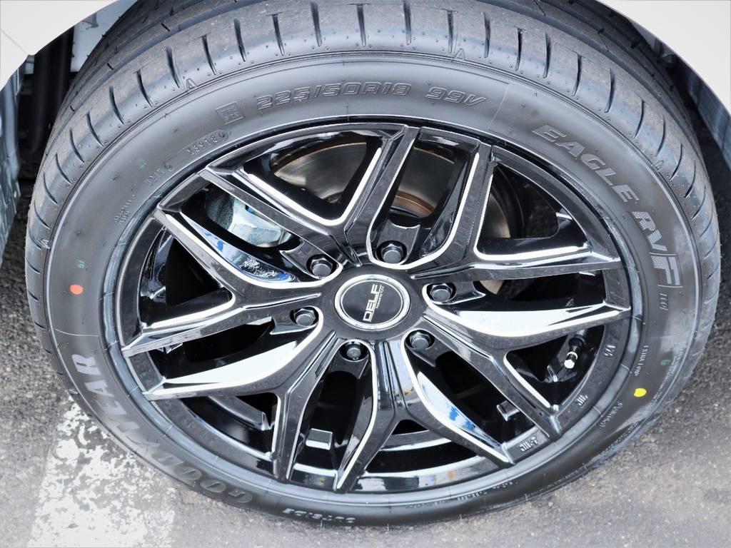 デルフ01BM18インチアルミホイール、グットイヤータイヤ!   トヨタ ハイエース 2.7 GL ロング ミドルルーフ 4WD アレンジR1