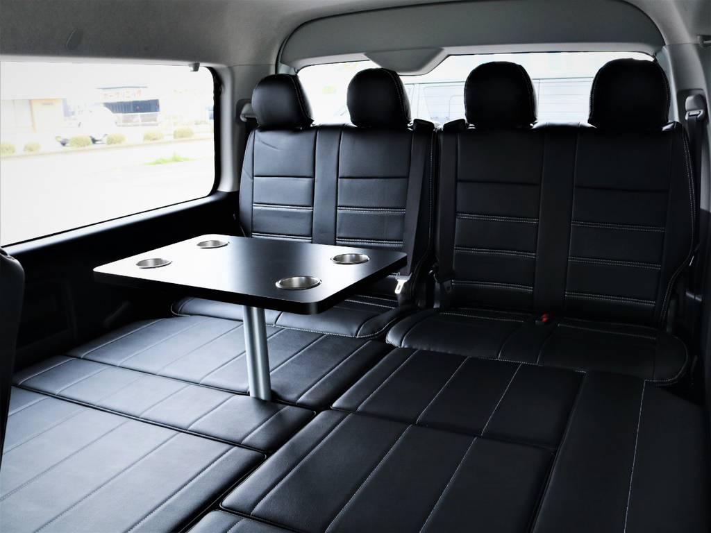 就寝スペース広々御座います、センターテーブル付き! | トヨタ ハイエース 2.7 GL ロング ミドルルーフ 4WD アレンジR1