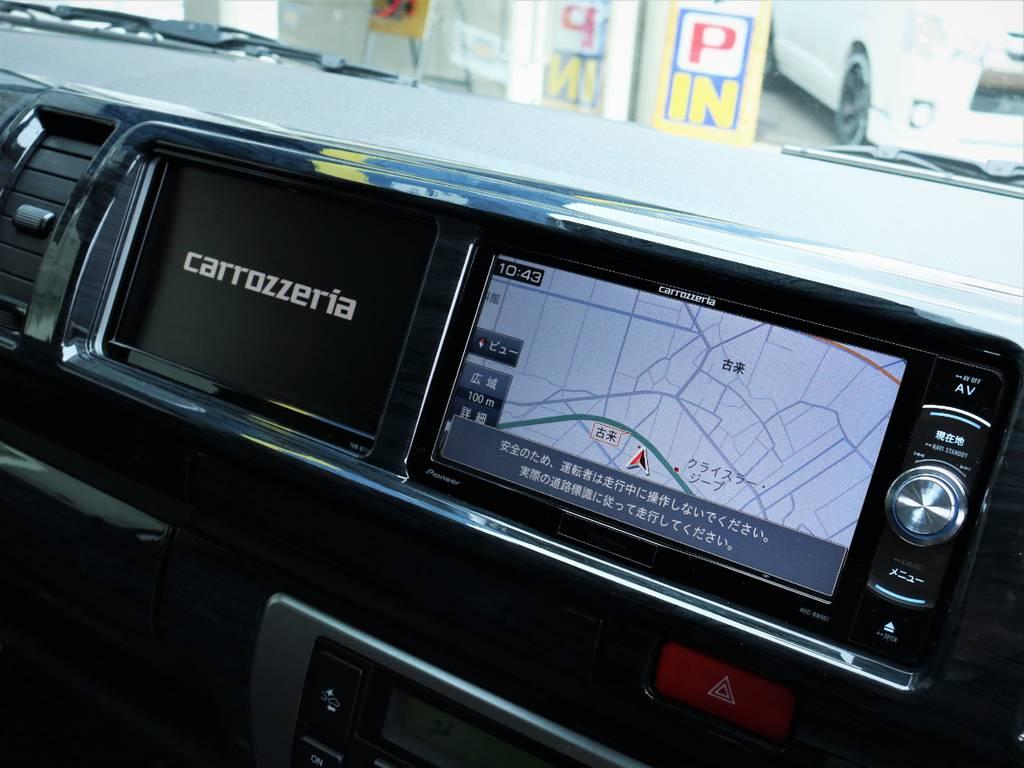 カロッツェリア製SDナビ、フルセグTV、DVD再生可能!カロッツェリア製サイドモニター! | トヨタ ハイエース 2.7 GL ロング ミドルルーフ 4WD アレンジR1