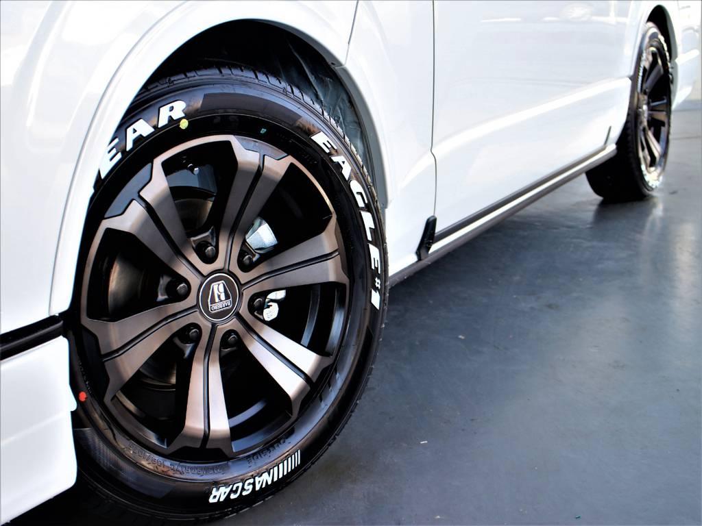 バルベロ17インチアルミホイール! グッドイヤーイーグルナスカータイヤ! CRSリーガルフェンダー! | トヨタ ハイエース 2.7 GL ロング ミドルルーフ 4WD アレンジR1内装架装車両
