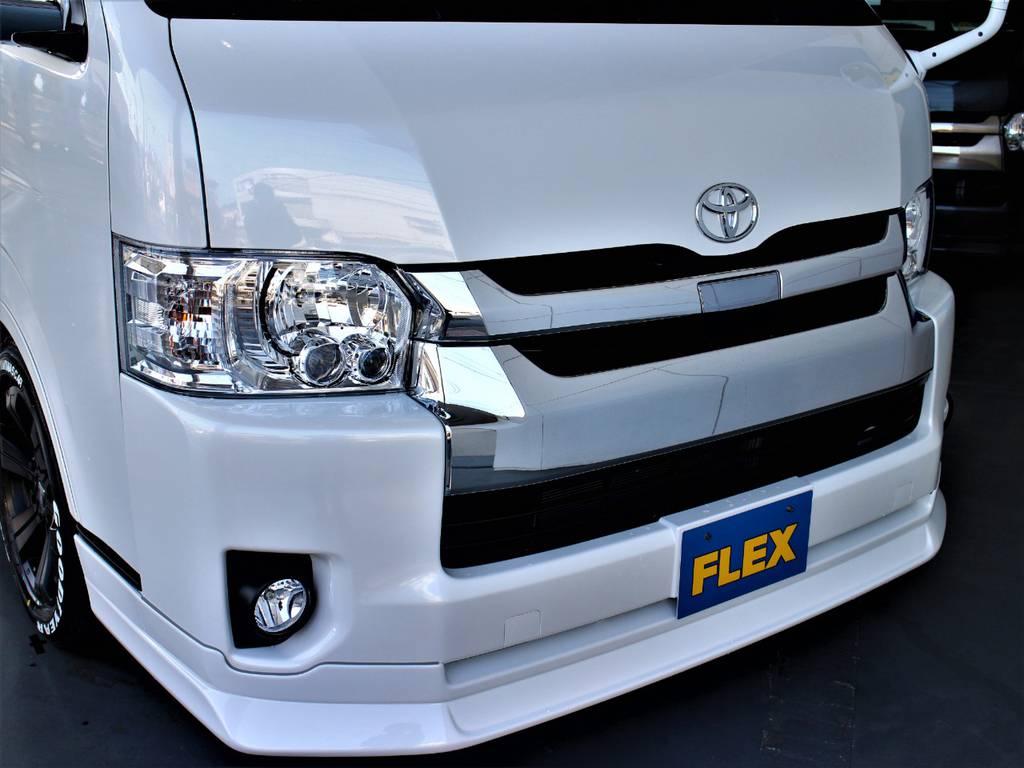 FLEXオリジナルDelfino Lineフロントスポイラー! | トヨタ ハイエース 2.7 GL ロング ミドルルーフ 4WD アレンジR1内装架装車両