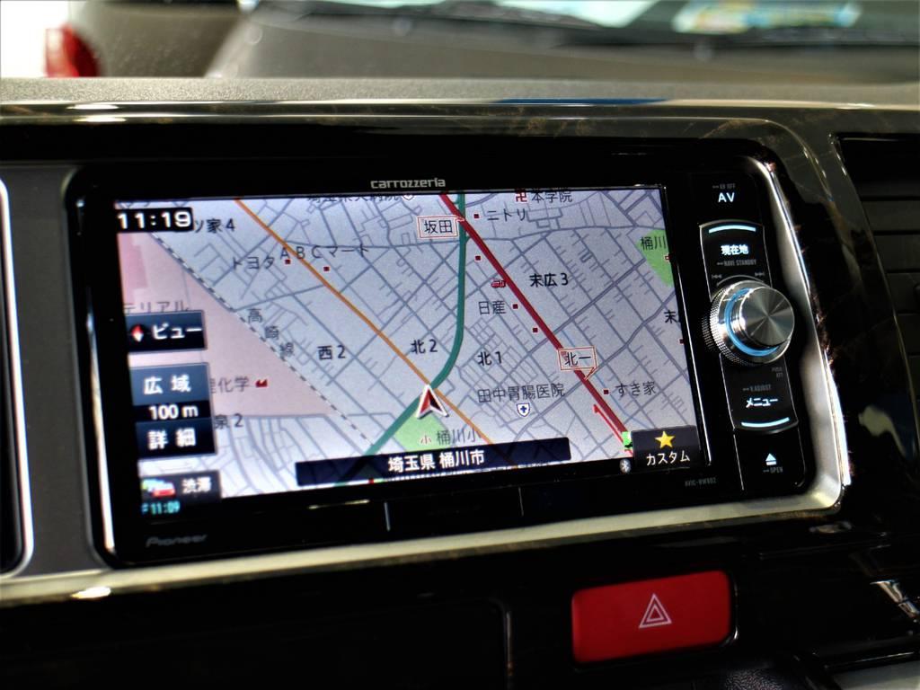 カロッツェリアSDナビ! ※音楽録音・DVD再生・フルセグ・Bluetooth接続可! | トヨタ ハイエース 2.7 GL ロング ミドルルーフ 4WD アレンジR1内装架装車両