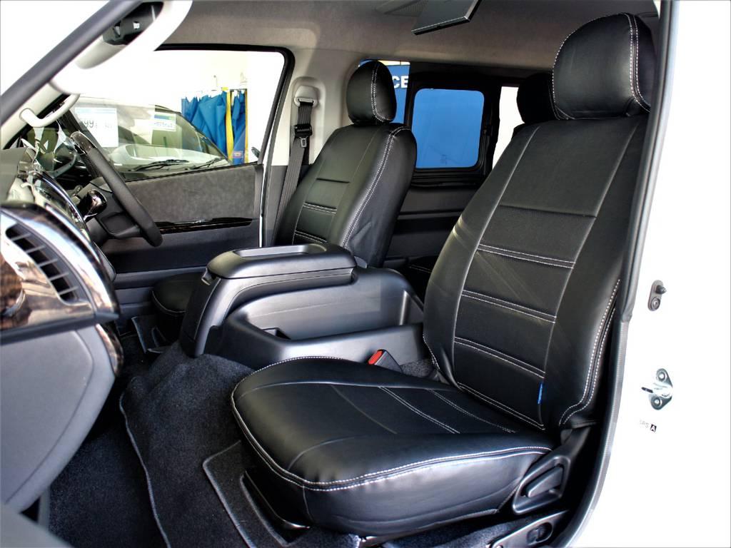 FLEXオリジナル全席シートカバー! | トヨタ ハイエース 2.7 GL ロング ミドルルーフ 4WD アレンジR1内装架装車両