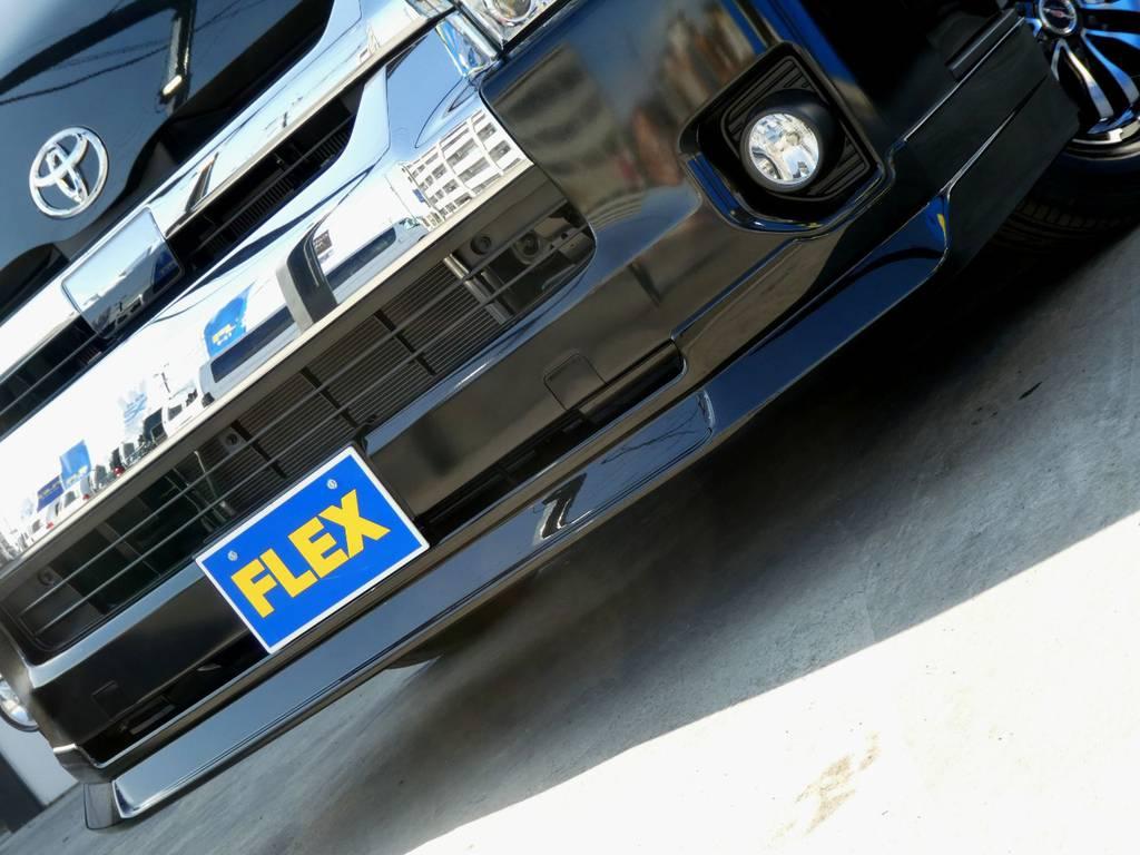 Delfino Lineスポイラーがフロントフェイスを引き締めます!! | トヨタ ハイエース 2.7 GL ロング ミドルルーフ 4WD 内装架装 アレンジAS
