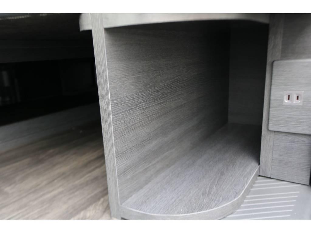 収納スペースもありますよ! | トヨタ ハイエース 2.7 GL ロング ミドルルーフ 4WD フレックスオリジナル内装架装Ver1