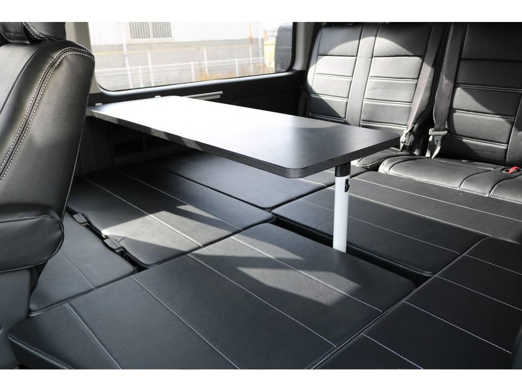 大きなテーブルがver1の特徴です♪ | トヨタ ハイエース 2.7 GL ロング ミドルルーフ 4WD フレックスオリジナル内装架装Ver1