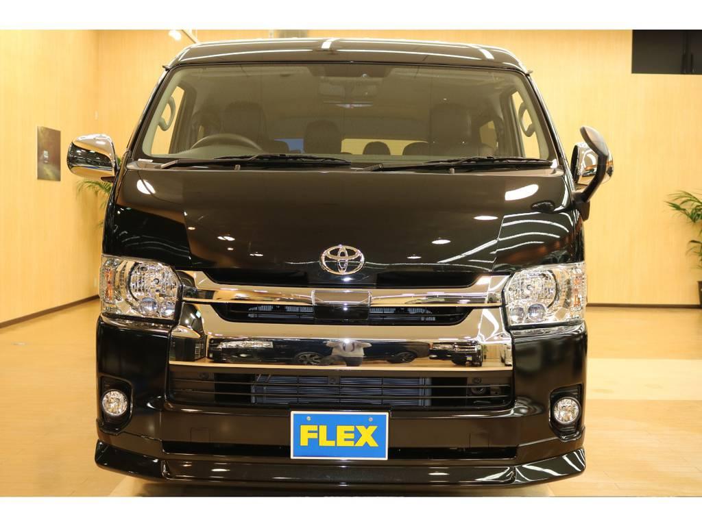 フレックスオリジナルフロントスポイラー装着しましたよ! | トヨタ ハイエース 2.7 GL ロング ミドルルーフ 4WD フレックスオリジナル内装架装Ver1