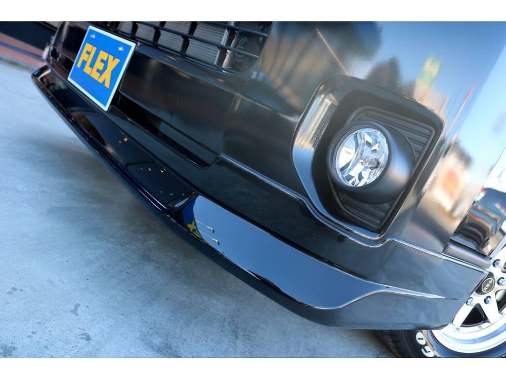 FLEXオリジナル Delfino Lineフロントスポイラーを装着!!   トヨタ ハイエースバン 2.8 スーパーGL ダークプライムⅡ ロングボディ ディーゼルターボ カスタムPKG