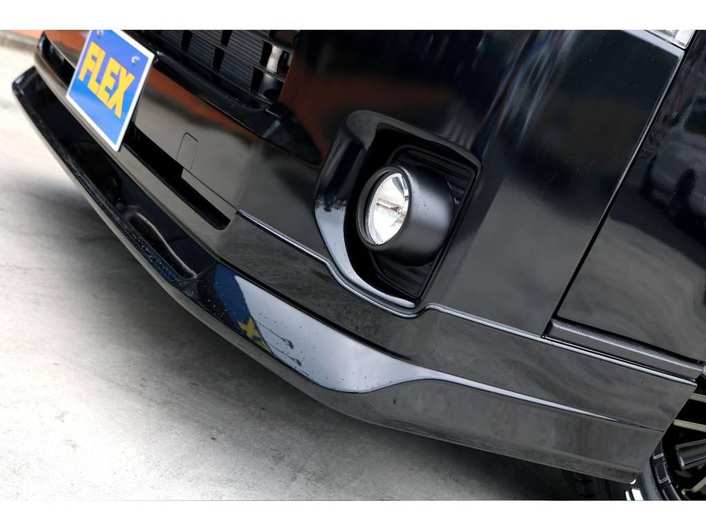 FLEXオリジナル Delfino Lineフロントスポイラーを装着!! | トヨタ ハイエースバン 2.8 スーパーGL ダークプライムⅡ ロングボディ ディーゼルターボ ナビパッケージ