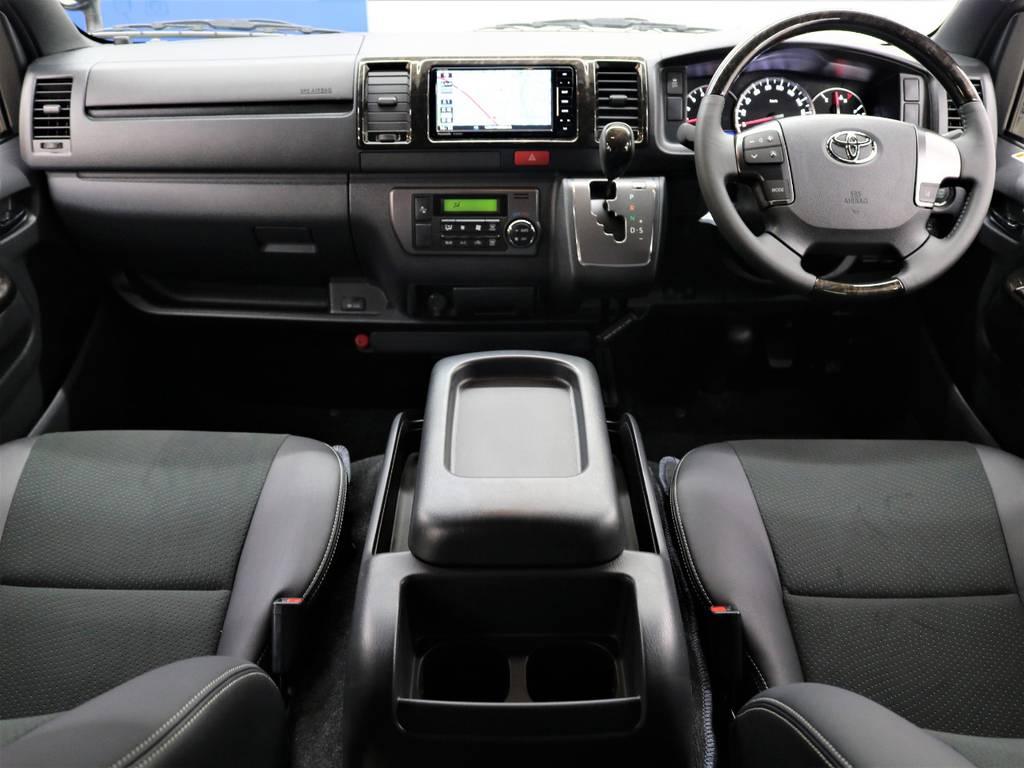 高級感のあるインパネまわり! | トヨタ ハイエースバン 2.8 スーパーGL ダークプライムⅡ ロングボディ ディーゼルターボ 4WD FLEXアレンジFU-N OPスライド