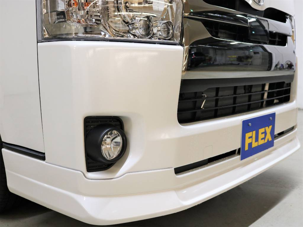 FLEXオリジナル【DelfinoLine】フロントリップスポイラー! | トヨタ ハイエースバン 2.8 スーパーGL ダークプライムⅡ ロングボディ ディーゼルターボ 4WD FLEXアレンジFU-N OPスライド