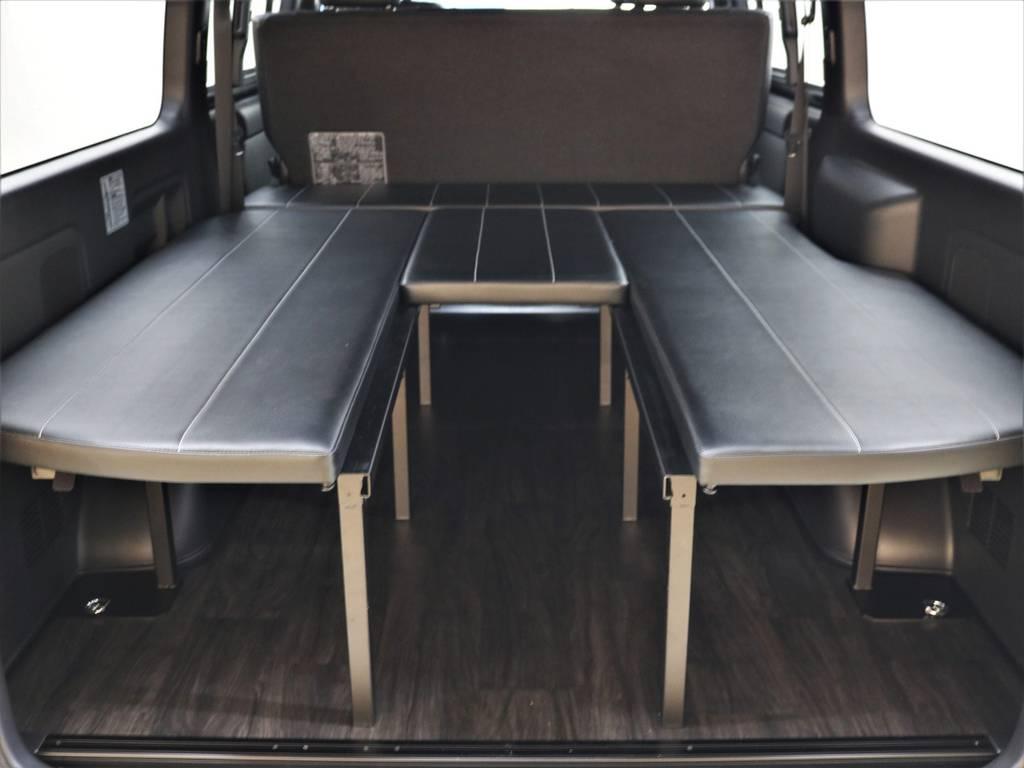ベッドマットの取り外しは誰にでも簡単ですよ! | トヨタ ハイエースバン 2.8 スーパーGL ダークプライムⅡ ロングボディ ディーゼルターボ 4WD FLEXアレンジFU-N OPスライド