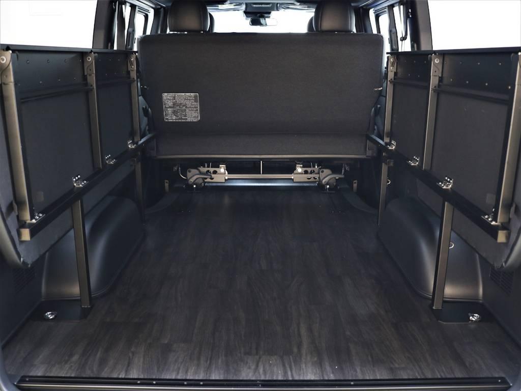 両側を跳ね上げればこんなに広々使えます! | トヨタ ハイエースバン 2.8 スーパーGL ダークプライムⅡ ロングボディ ディーゼルターボ 4WD FLEXアレンジFU-N OPスライド