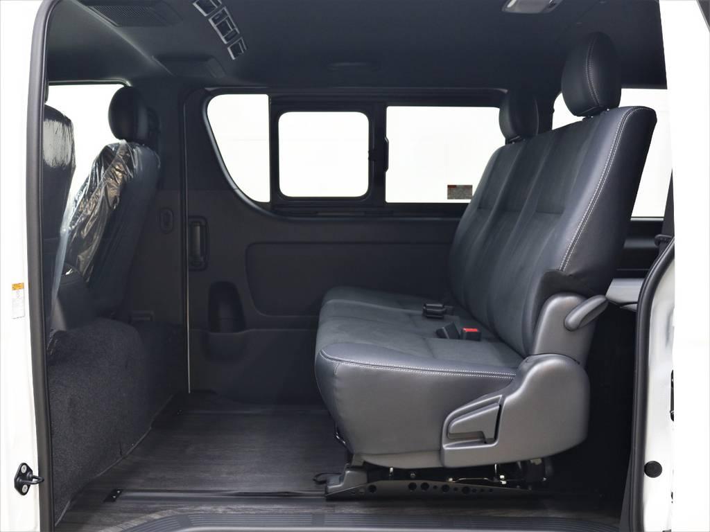 後部座席を広々とお使い頂けます! | トヨタ ハイエースバン 2.8 スーパーGL ダークプライムⅡ ロングボディ ディーゼルターボ 4WD FLEXアレンジFU-N OPスライド