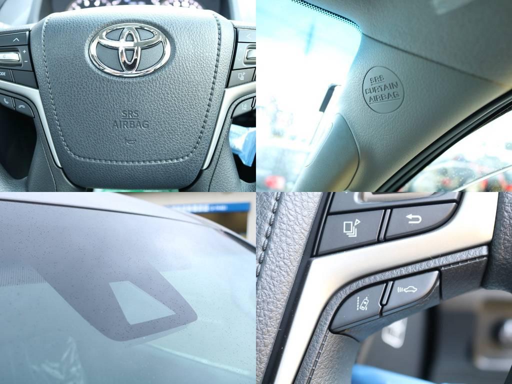 運転席・助手席・カーテンとエアバッグも完備!先進装備のTOYOTAセーフティセンスPとも合わせ、安全面でもおすすめの1台となっております♪ | トヨタ ランドクルーザープラド 2.8 TX ディーゼルターボ 4WD 5人 CLIMATE BODYキット
