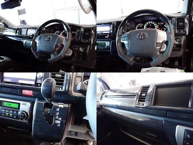 黒木目パネルKIT、コンビハンドル、ノブ装備!! | トヨタ ハイエース 2.7 GL ロング ミドルルーフ 4WD R1シートアレンジ施工