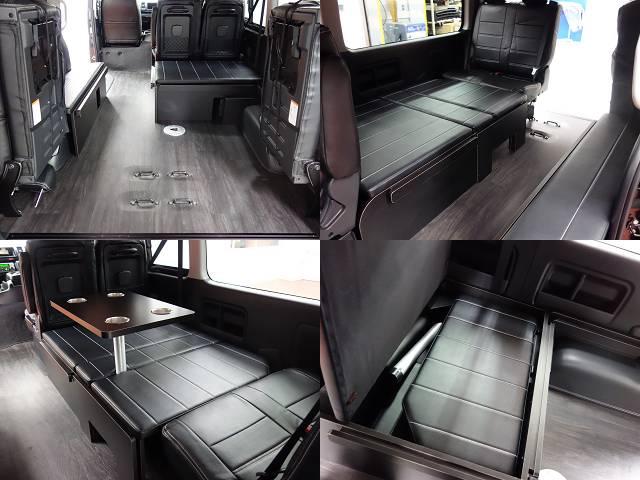専用床張り施工、ポール式テーブル装備!! | トヨタ ハイエース 2.7 GL ロング ミドルルーフ 4WD R1シートアレンジ施工