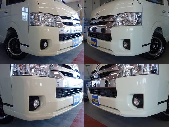 415コブラ製ショートリップスポイラー装備!! | トヨタ ハイエース 2.7 GL ロング ミドルルーフ 4WD R1シートアレンジ施工