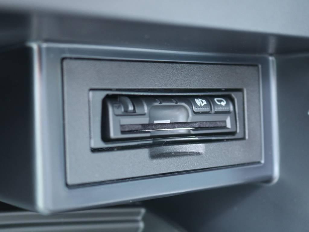 新品パナソニック製ETCはグローブボックス内に取付★ビルトインタイプですので見た目も非常にスタイリッシュに仕上がっています♪ | トヨタ ランドクルーザープラド 2.8 TX Lパッケージ ディーゼルターボ 4WD 5人 20AW&KO2 9ナビBカメ