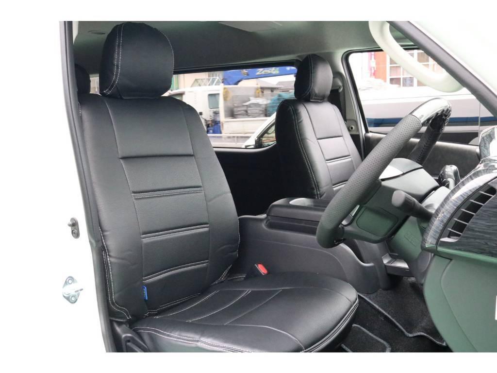 1、2、4列目シートには黒革調シートカバーを装着! | トヨタ ハイエース 2.7 GL ロング ミドルルーフ 4WD 4WDシートアレンジR1