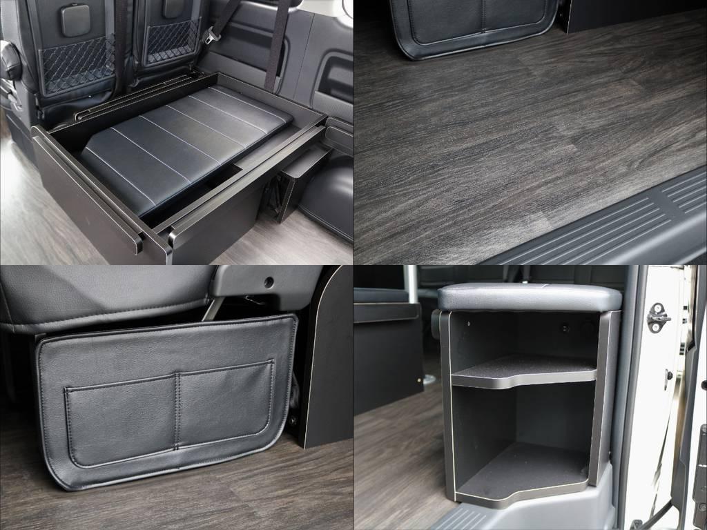 床張り・フットパネル・靴収納棚、全てシートアレンジR1には標準装備となります! | トヨタ ハイエース 2.7 GL ロング ミドルルーフ 4WD 4WDシートアレンジR1