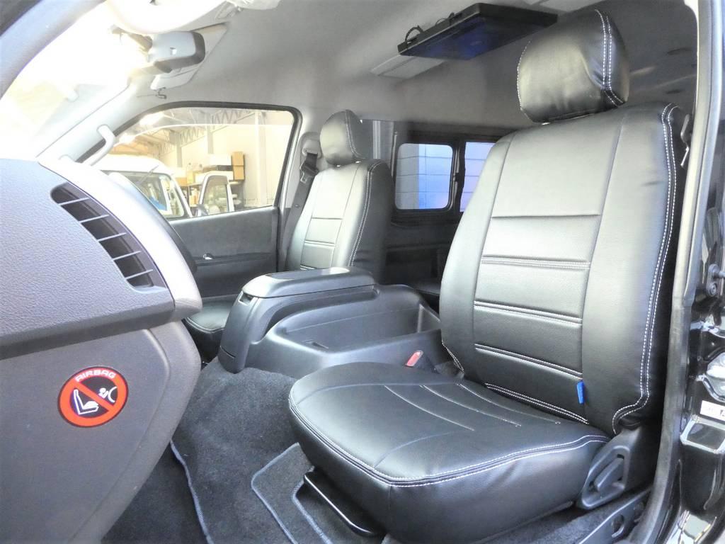 助手席ももちろんシートカバー装着済み!! | トヨタ ハイエース 2.7 GL ロング ミドルルーフ TSS付 ツインナビカスタム