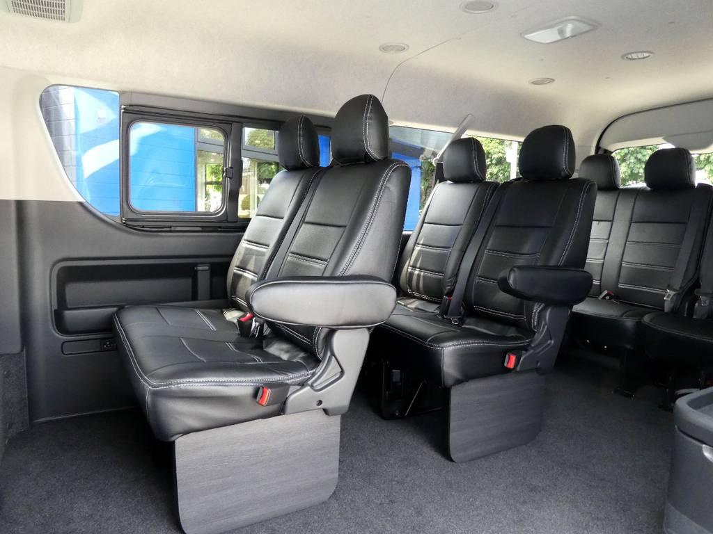 後席も当然!専用シートカバー配備でお手入れラクラクです!! | トヨタ ハイエース 2.7 GL ロング ミドルルーフ TSS付 ツインナビカスタム