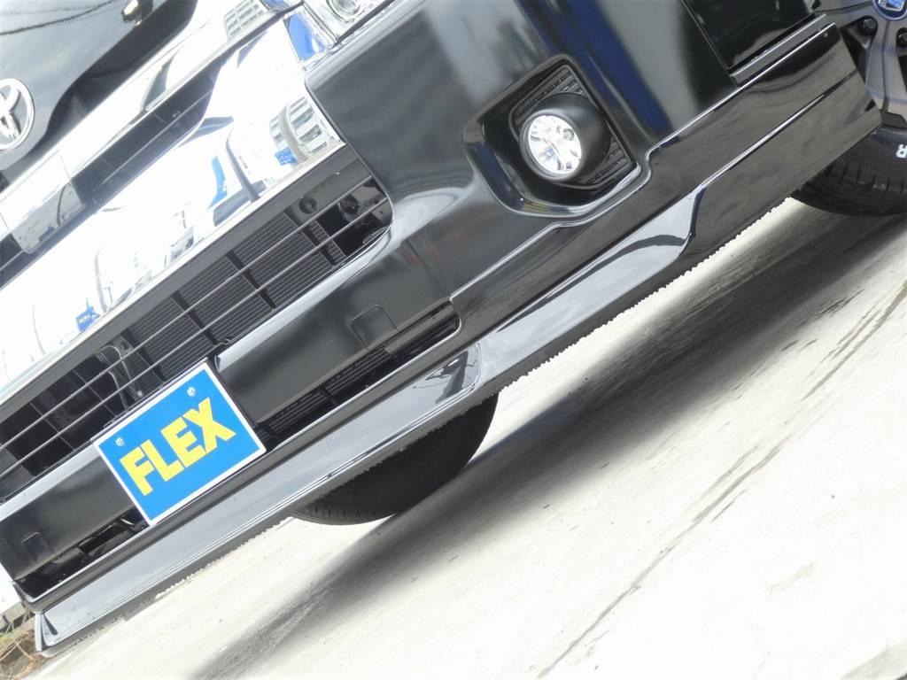 Delfino Lineスポイラーがフロントフェイスを引き締めます!! | トヨタ ハイエース 2.7 GL ロング ミドルルーフ TSS付 ツインナビカスタム