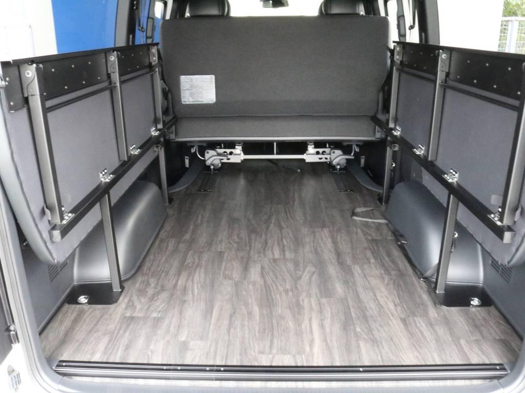 ベッドキット畳むと広く室内使えます!! | トヨタ ハイエースバン 2.8 スーパーGL ダークプライムⅡ ロングボディ ディーゼルターボ PS無