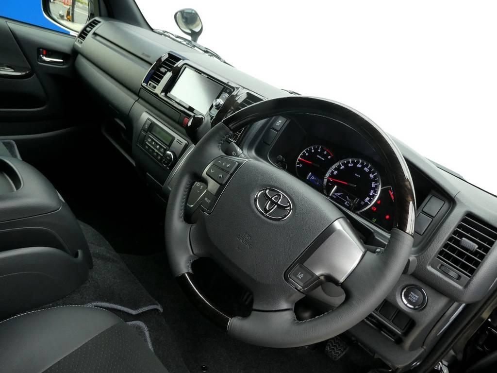 ダークプライム限定ウッドコンビステアリング装備!! | トヨタ ハイエースバン 2.8 スーパーGL ダークプライムⅡ ロングボディ ディーゼルターボ 4WD ワイルドフィールド