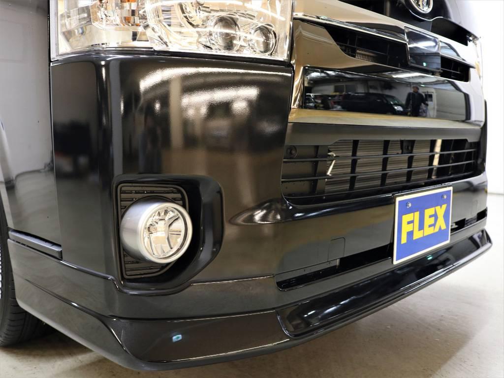 FLEXオリジナル【DelfinoLine】フロントリップスポイラー! | トヨタ ハイエースバン 2.8 スーパーGL 50TH アニバーサリー リミテッド ロングボディ ディーゼルターボ 4WD FLEXベッドキット
