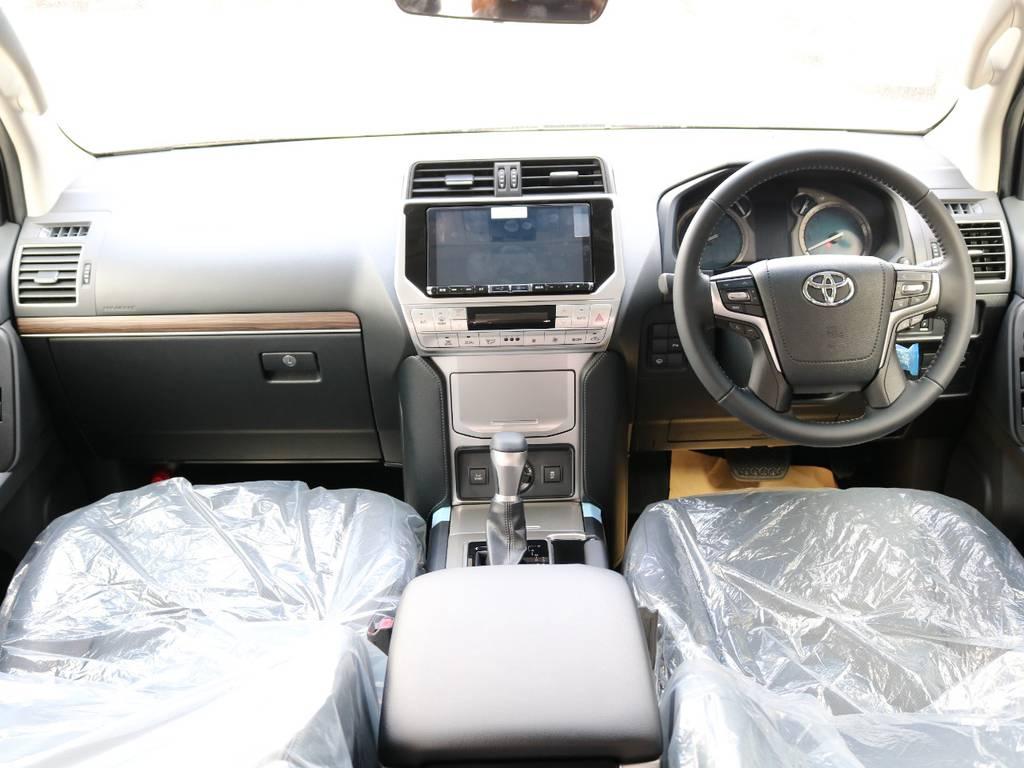 広々したインパネに大きなFガラスで運転視界もグッド!   トヨタ ランドクルーザープラド 2.7 TX Lパッケージ 4WD 7人 新車未登録車 9インチナビ