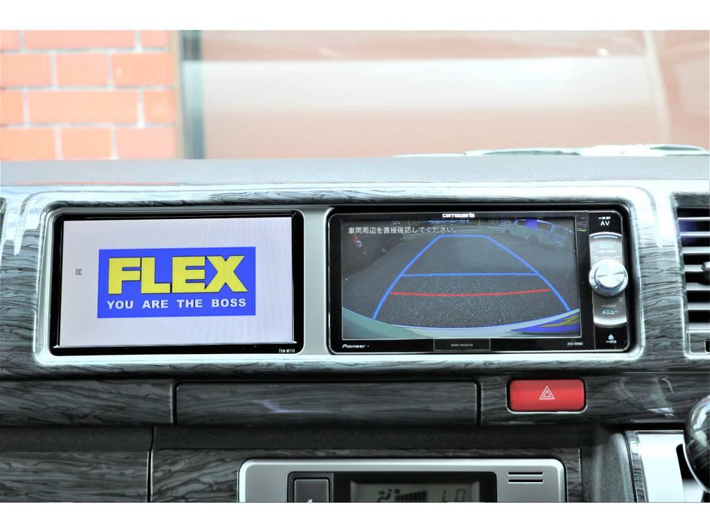 バックカメラ時もサブモニターはそそまま♪ | トヨタ ハイエース 2.7 GL ロング ミドルルーフ 4WD TSS付フレックスVer2内装架装