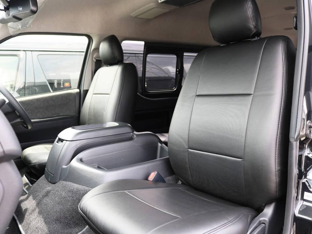 運転席・助手席 黒革調シートカバー装着済み♪