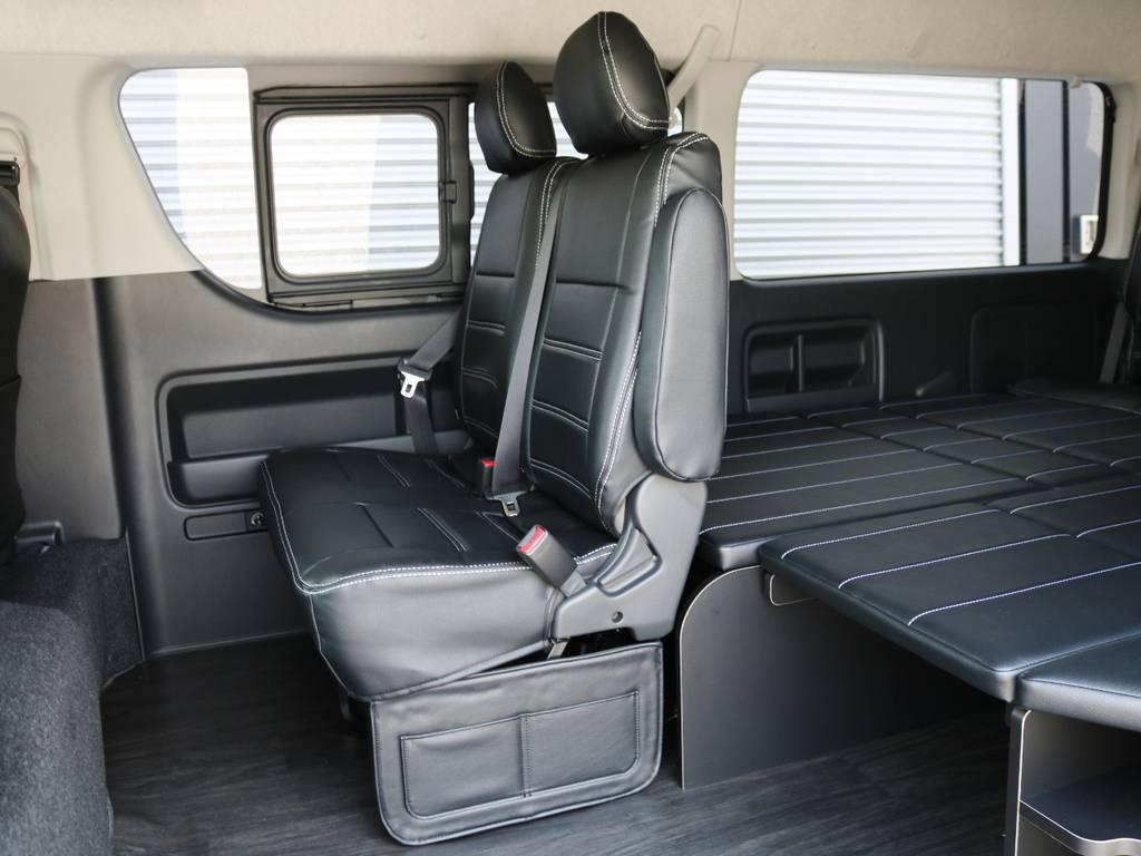 セカンドシートは2人掛けベンチシートタイプ♪ | トヨタ ハイエース 2.7 GL ロング ミドルルーフ TSS付 内装アレンジR1