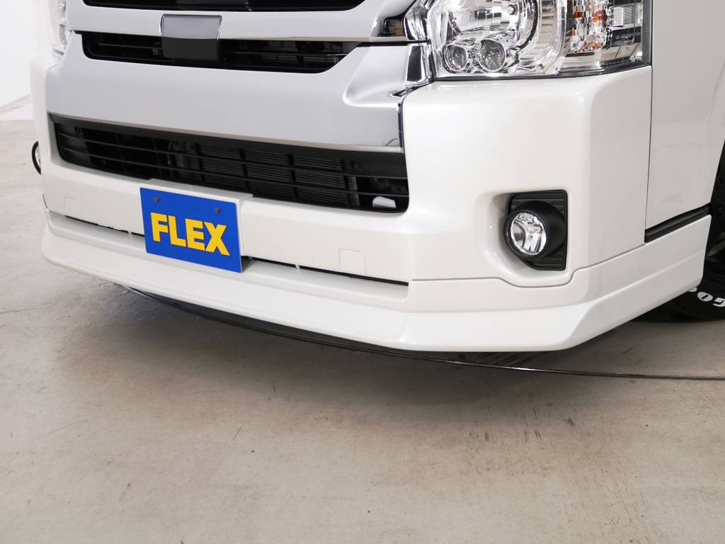 FLEXオリジナル Delfinoline フロントリップスポイラー♪ | トヨタ ハイエース 2.7 GL ロング ミドルルーフ TSS付 内装アレンジR1